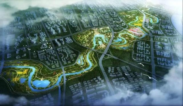 鲤鱼江湿地公园鸟瞰图