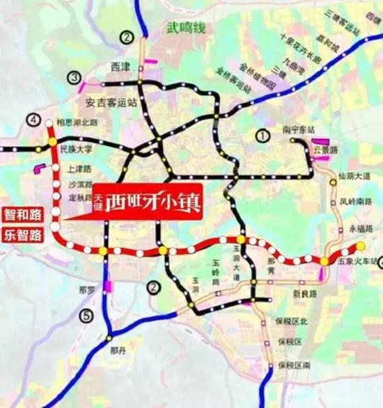 (地铁4号线延长线规划站点示意图)