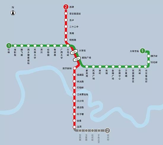 (地铁1号线与2号线换乘站点示意图)
