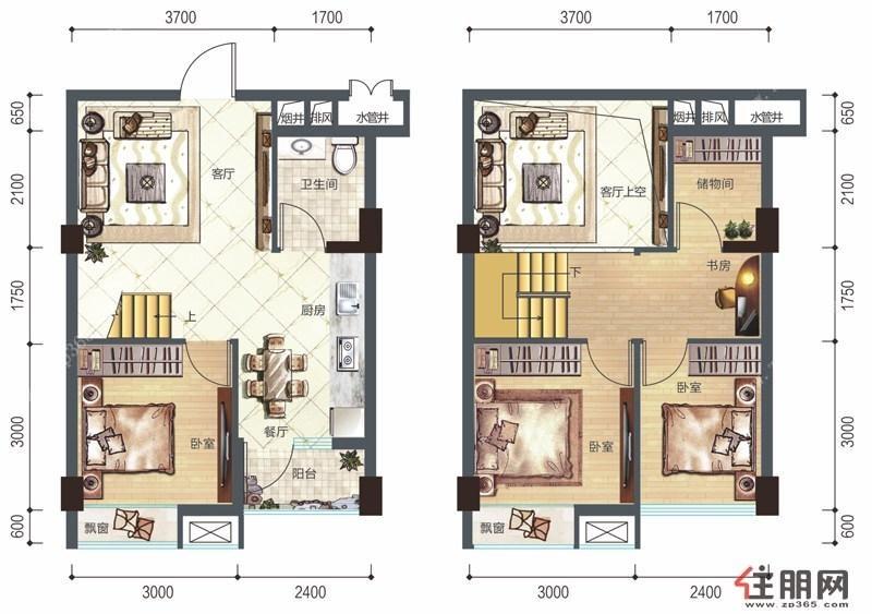 60平方复式公寓设计图