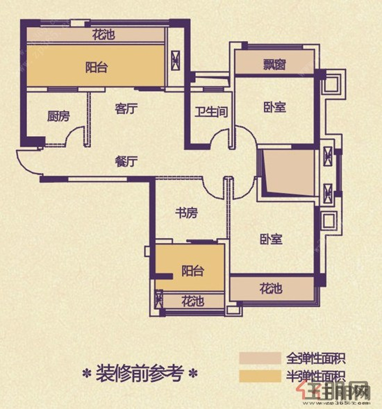 该图为龙域香堤半岛19#,22#k户型装修前户型图