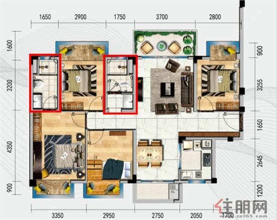 )大四房卫生间设计图-真正的装修房 卫生间都不忘精心设计