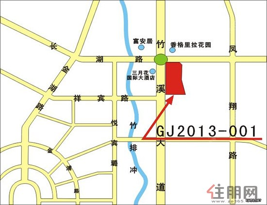 竹溪大道东侧GJ2013-001地块位置示意图