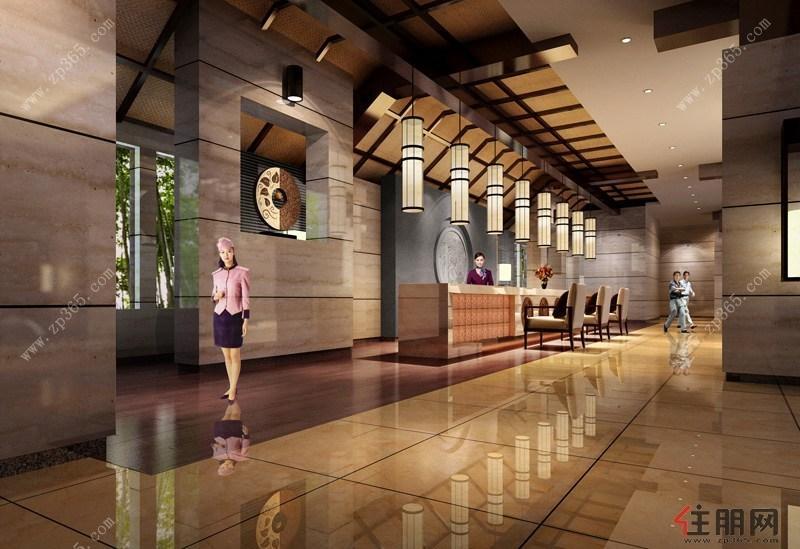 自持东南亚风情酒店大堂装修效果图
