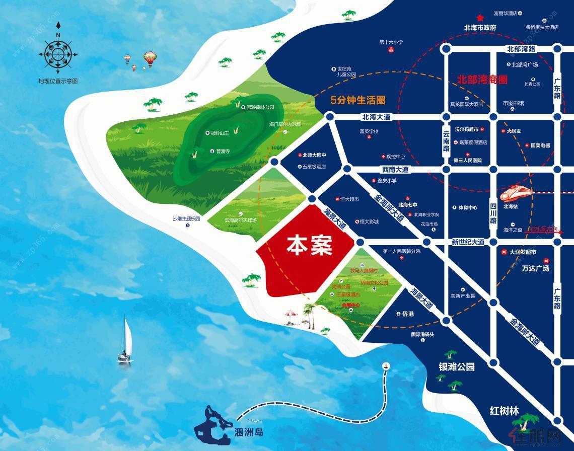 海景大道连接了北海两个国家4a级景区,西边是冠头岭国家森林公园,项目