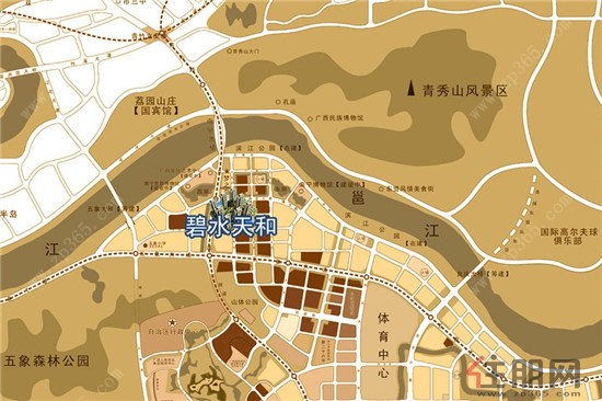 南宁青秀山风景地图