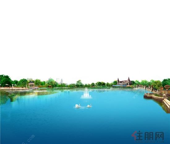 近瞰灵动实境美湖;典雅园林品质,倾心匠造欧式风情园林,栈道,喷泉