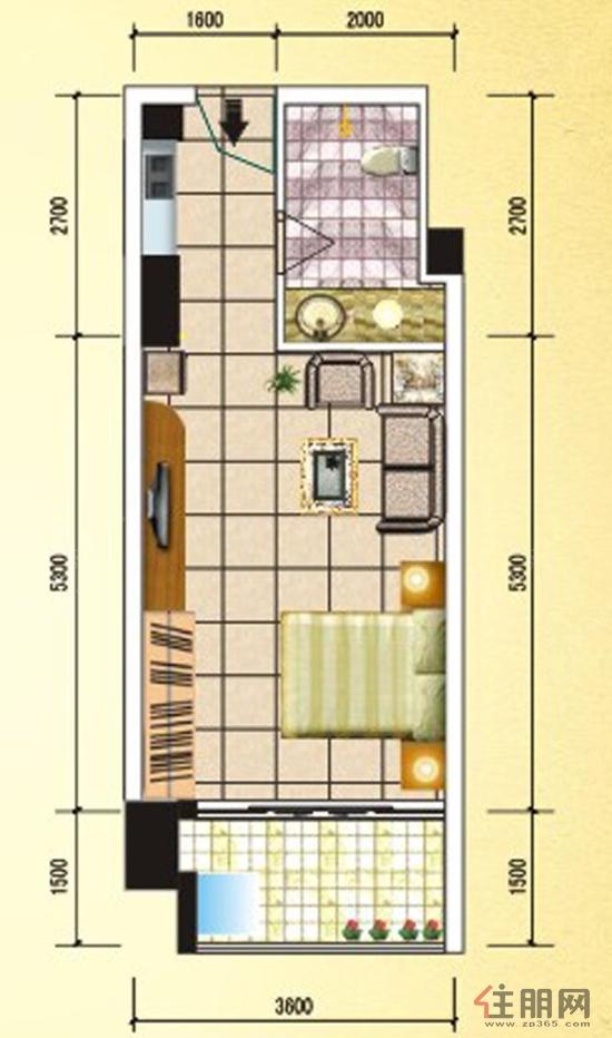 19号楼B户型  脑洞大开:凤岭名园弥珍道这个户型虽然只有41平方米,但使用起来并不觉得狭窄。进门右手边的便捷式厨房,开发商考虑到很多购买这户型的人士在家煮食次数不多,把空间尽量让给卫生间。超4平方米的卫生间,无论是沐浴还是洗漱,舒适度都大大提高。房间和会客室比较方正,空间使用率高,没有浪费。阳台有1.